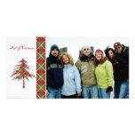Felices Navidad del árbol rojo y verde de Argyle Tarjetas Personales