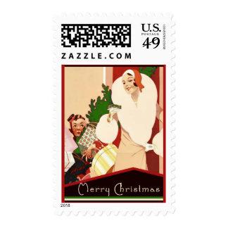 Felices Navidad del art déco fabuloso Franqueo