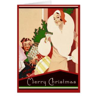 Felices Navidad del art déco fabuloso Tarjeta De Felicitación