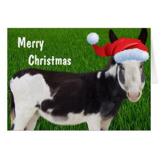 Felices Navidad del burro Tarjetón