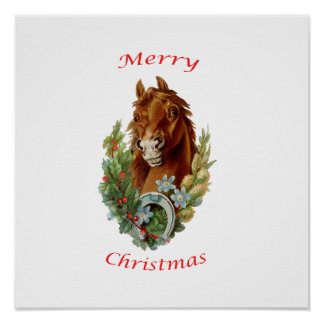 Felices Navidad del caballo del vintage Impresiones