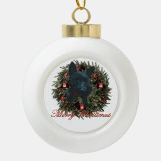 Felices Navidad del escocés Adorno De Cerámica En Forma De Bola