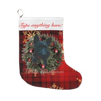 Felices Navidad del escocés Calcetín De Navidad Grande