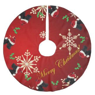 Felices Navidad del escocés Falda Para Arbol De Navidad De Poliéster