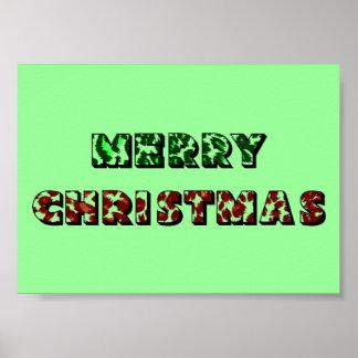 Felices Navidad del estampado leopardo Poster