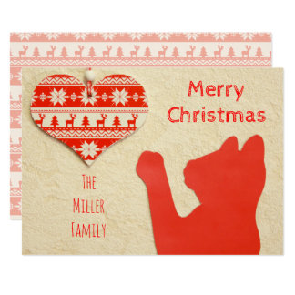 """Felices Navidad del gato del día de fiesta rojo de Invitación 5"""" X 7"""""""