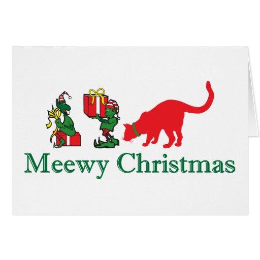 Felices Navidad del gato del gatito de Meewy Tarjeta De Felicitación