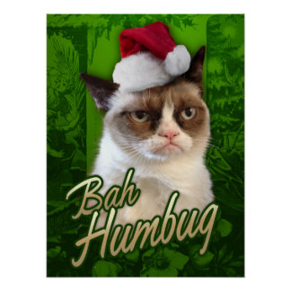 Felices Navidad del gato gruñón/embaucamiento de B Póster