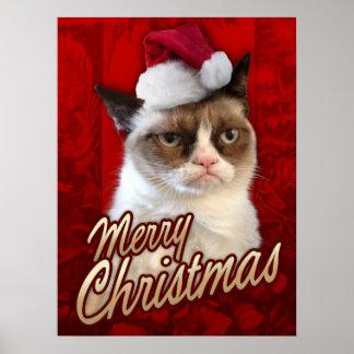 Felices Navidad del gato gruñón Póster