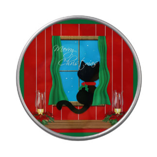 Felices Navidad del gato lindo Latas De Caramelos