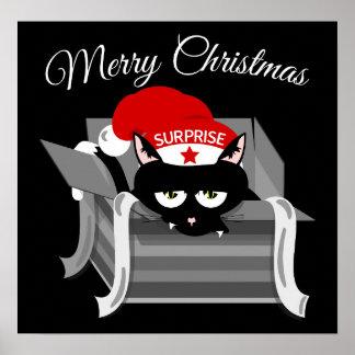 Felices Navidad del gato travieso Póster