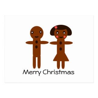 Felices Navidad del hombre de pan de jengibre y de Tarjeta Postal