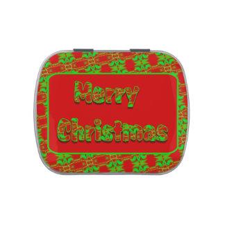 Felices Navidad del modelo brillante verde rojo Latas De Dulces