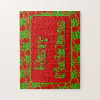 Felices Navidad del modelo brillante verde rojo Puzzle
