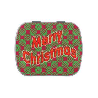 Felices Navidad del modelo verde rojo del círculo Latas De Caramelos