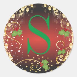 Felices Navidad del monograma Pegatina Redonda