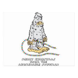 Felices Navidad del muñeco de nieve abominable Tarjeta Postal