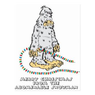 Felices Navidad del muñeco de nieve abominable Postales