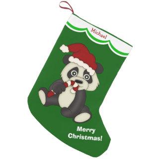 Felices Navidad del oso de panda personalizadas Calcetín De Navidad Pequeño