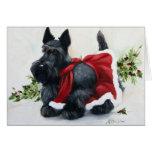 Felices Navidad del perro de Terrier del escocés d Tarjeta