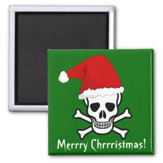 Felices Navidad del pirata divertido que saludan A Imán Cuadrado