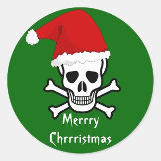 Felices Navidad del pirata divertido que saludan A Etiqueta Redonda