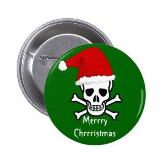 Felices Navidad del pirata divertido que saludan A Pin Redondo De 2 Pulgadas