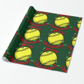 Felices Navidad del softball Papel De Regalo