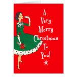Felices Navidad del solo chica moderno de los medi Tarjeta