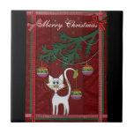 Felices Navidad del tintineo hecho a mano del gati Teja Cerámica