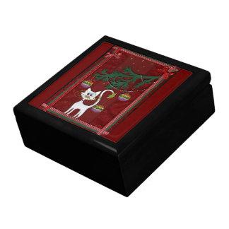 Felices Navidad del tintineo hecho a mano del gati Cajas De Regalo