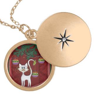 Felices Navidad del tintineo hecho a mano del gati Collar Dorado