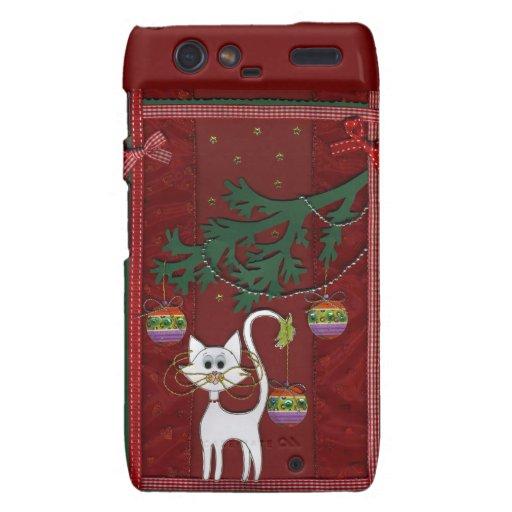 Felices Navidad del tintineo hecho a mano del gati Motorola Droid RAZR Carcasa