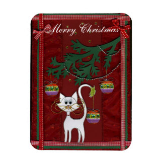 Felices Navidad del tintineo hecho a mano del gati Imanes