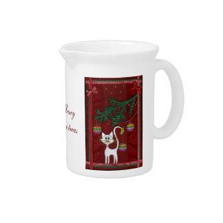 Felices Navidad del tintineo hecho a mano del gati Jarras Para Bebida
