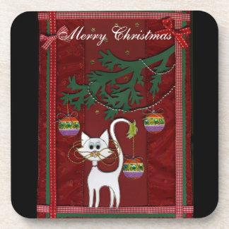 Felices Navidad del tintineo hecho a mano del gati Posavasos De Bebidas