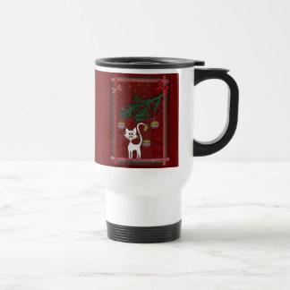 Felices Navidad del tintineo hecho a mano del gati Tazas De Café