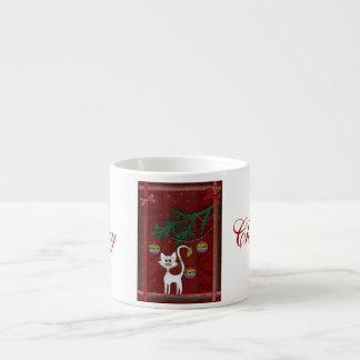 Felices Navidad del tintineo hecho a mano del gati Taza De Espresso