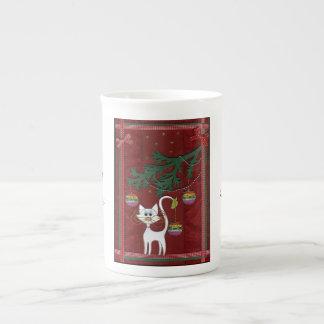 Felices Navidad del tintineo hecho a mano del gati Taza De Té