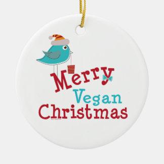 Felices Navidad del vegano Adorno Navideño Redondo De Cerámica