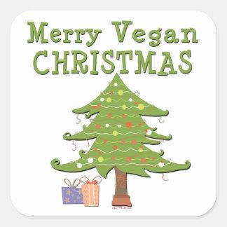 Felices Navidad del vegano Calcomanía Cuadradase