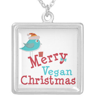 Felices Navidad del vegano Colgante Cuadrado