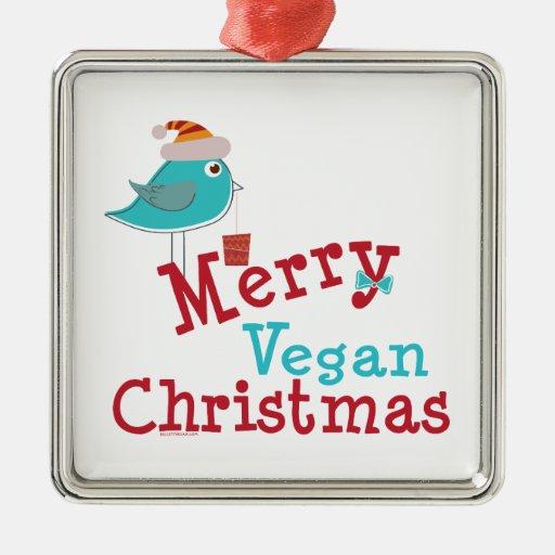 Felices Navidad del vegano Adorno Cuadrado Plateado
