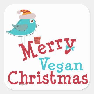 Felices Navidad del vegano Pegatina Cuadradas