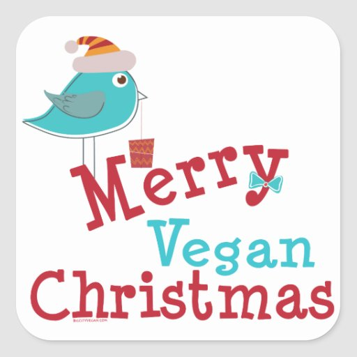Felices Navidad del vegano Pegatina Cuadrada