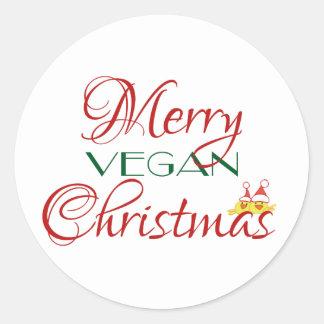 Felices Navidad del vegano Pegatina Redonda