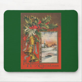 Felices Navidad del vintage con Belces Alfombrilla De Ratones