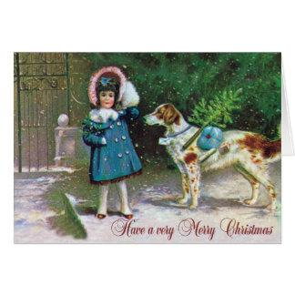 Felices Navidad del vintage con el perro del chica Tarjeta De Felicitación