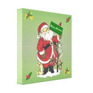 Felices Navidad del vintage de los animales lindos Impresión En Lienzo