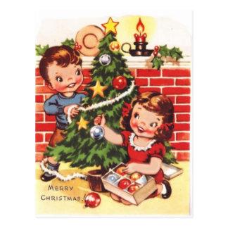 Felices Navidad del vintage de los años 40 Postal